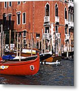 Gondolas In A Canal, Grand Canal Metal Print