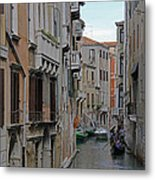Gondolas On Backstreet Canal Metal Print