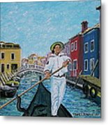 Gondolier At Venice Italy Metal Print