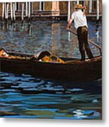 Gondoliere Sul Canale Metal Print