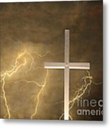 Good Friday In Sepia Texture Metal Print