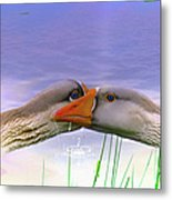 Goose Kiss - Featured In Comfortable Art - Nature Wildlife - Wildlife Groups Metal Print