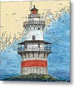 Goose Rocks Lighthouse Me Nautical Chart Peek Art Metal Print