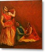 Gopis Distressed As Krishna Is Not Seen Metal Print