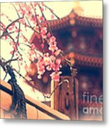 Gorgeous Pagoda And Plum Blossoms With Bamboo Fence Metal Print by Beverly Claire Kaiya