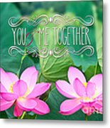 Gorgeous Pair Pink Lotus Couple Blossoms Green Leaves Metal Print