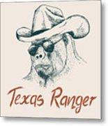 Gorilla Like A Texas Ranger Dressed In Metal Print