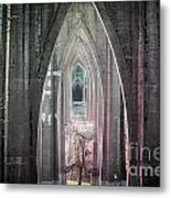 Gothic Arches Hands Folded In Prayer Metal Print