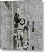 Gothic Cathedral Warrior Statue And Gargoyle Metal Print