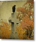 Gothic Fall Crow Metal Print