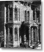 Gothic House Black And White Metal Print