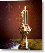 Gothic Scene With Candle And Gilt Edged Books Metal Print