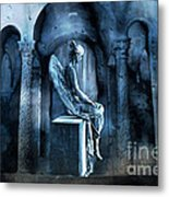 Gothic Surreal Angel In Mourning With Ravens Metal Print