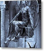 Gothic Surreal Cemetery Angel With Gargoyle And Bats Metal Print