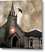Gothic Surreal Haunted Church And Steeple With Crows And Ravens Flying  Metal Print