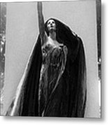 Gothic Surreal Haunting Female Cemetery Mourner Figure Black Caped Woman In Front Of Gravestone Metal Print