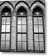 Gothic Windows - Black And White Metal Print