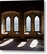 Gothic Windows Of The Royal Residence In The Leiria Castle Metal Print