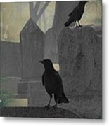 Gothic Winter Blackbirds Metal Print