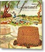Gourmet Cover Featuring A Buffet Farm Scene Metal Print