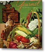 Gourmet Cover Featuring A Variety Of Vegetables Metal Print