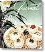 Gourmet Cover Featuring Poached Eggs On Cubed Metal Print