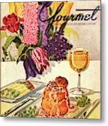Gourmet Cover Featuring Sweetbread And Asparagus Metal Print