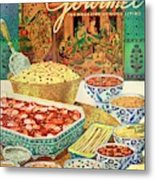 Gourmet Cover Featuring Various Indian Dishes Metal Print