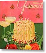Gourmet Cover Illustration Of A Molded Rice Metal Print