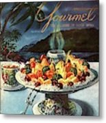 Gourmet Cover Illustration Of Fruit Dish Metal Print
