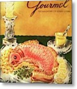 Gourmet Cover Illustration Of Salmon Mousse Metal Print