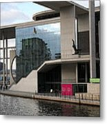 Government District With Reichstag Reflection Metal Print