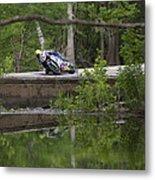 Superbike On Creek Bridge Metal Print
