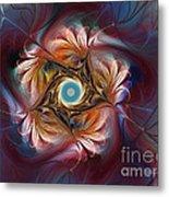 Grace And Elegance-floral Fractal Design Metal Print by Karin Kuhlmann