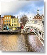 Graceful Ha'penny Bridge Over River Liffey Metal Print