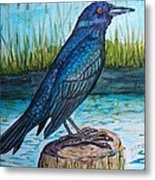 Grackle By The Water Metal Print