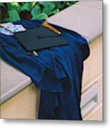 Graduation Gown With Mortarboard On Retaining Wall Metal Print