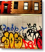 Graffit With Taxi Metal Print