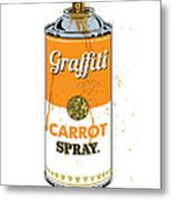 Graffiti Carrot Spray Can Metal Print