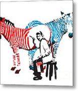 Graffiti Print Of Rembrandt Painting Stripes Zebra Painter Metal Print