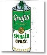 Graffiti Spinach Spray Can Metal Print