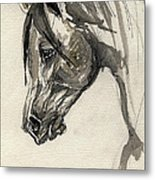 Grafik Polish Arabian Horse Ink Drawing Metal Print