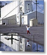 Grain Elevators And Child Metal Print