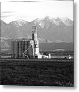 Grain Silo With Mountians Metal Print
