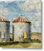 Grain Silos - Digital Paint Metal Print