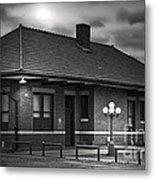 Train Depot At Night - Noir Metal Print