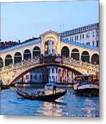 Grand Canal And Rialto Bridge At Dusk - Venice Metal Print
