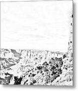 Grand Canyon National Park Mary Colter Designed Desert View Watchtower Black And White Line Art Metal Print