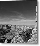 Grand Canyon National Park Mary Colter Designed Desert View Watchtower Near Sunset Black And White Metal Print
