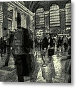 Grand Central Abstract In Black And White Metal Print